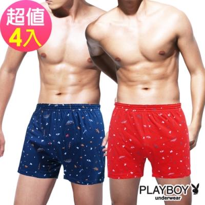 男內褲  PLAYBOY 棉質兔頭塗鴉兔印花彈性四角褲(4件組)