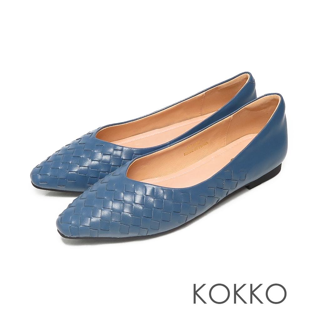KOKKO方頭編織柔軟感羊皮休閒微寬平底鞋經典藍