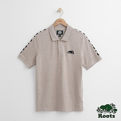 Roots 男裝-雙肩印花短袖POLO衫-卡其色