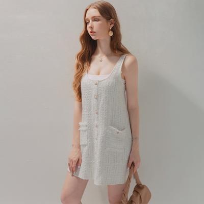 AIR SPACE 小香織紋排釦背心短洋裝(白)
