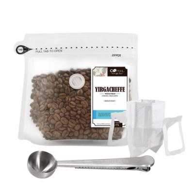CoFeel 凱飛鮮烘豆耶加雪夫中烘焙咖啡豆半磅+不鏽鋼咖啡匙夾子+濾掛咖啡袋10入