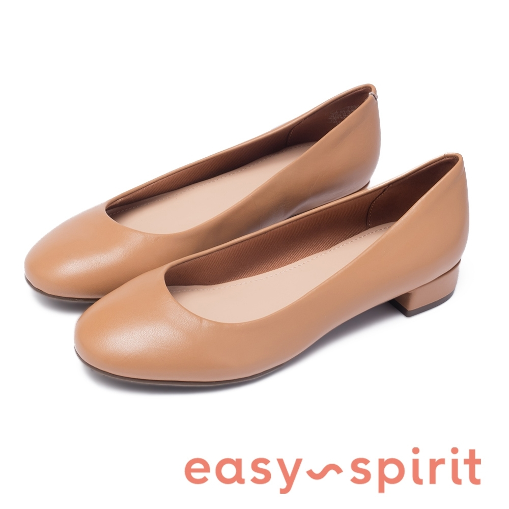 Easy Spirit-seBELL 通勤首選 舒適真皮低跟鞋-米杏色