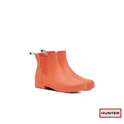HUNTER - 女鞋-Refined切爾西霧面踝靴 - 夕陽橘