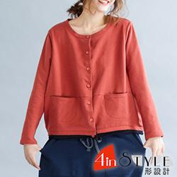 圓領雙口袋撞色拼接外套 (共二色)-4inSTYLE形設計