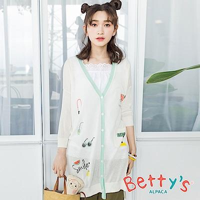 betty's貝蒂思 夏日風透膚七分袖針織罩衫(白色)