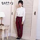 betty's貝蒂思 率性腰間鬆緊打摺褲(酒紅色)