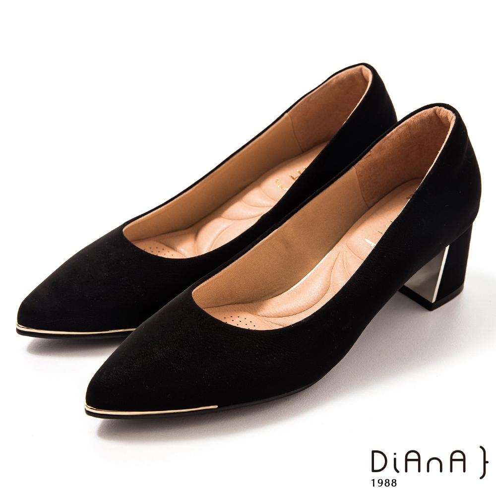 DIANA 5.5 cm 獨家絲光牛皮防磨枕頭尖頭跟鞋 –質感氛圍–黑