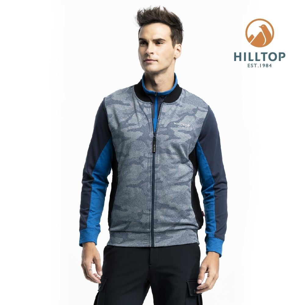 【hilltop山頂鳥】男款彈性保暖迷彩背心H25M96藍綠印花