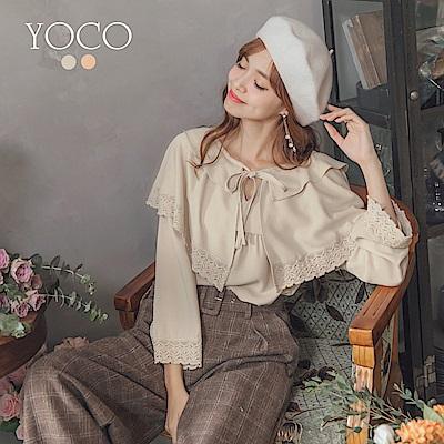 東京著衣-yoco 韓妞輕甜雙層領蝴蝶結綁帶上衣-S.M.L(共二色)