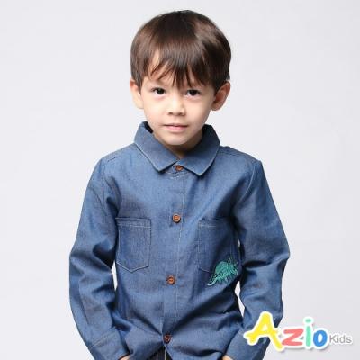 Azio Kids 男童 上衣 刺繡恐龍牛仔襯衫(藍)