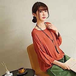 慢 生活 素雅十字棉七分袖上衣-紫色/橘色