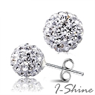 I-Shine-閃耀時光-正白K-閃亮滿鑽雙珠銀耳針耳環AH13