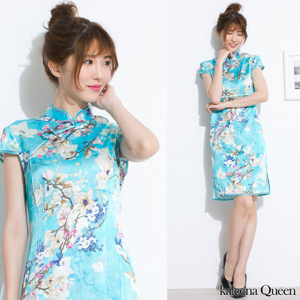 Kaleena Queen 水色花彩高級蠶絲旗袍-水藍