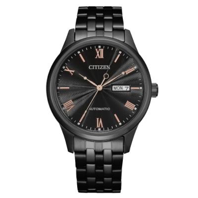 CITIZEN Mechanical時尚機械日期腕錶-黑(NH7505-84E)40mm