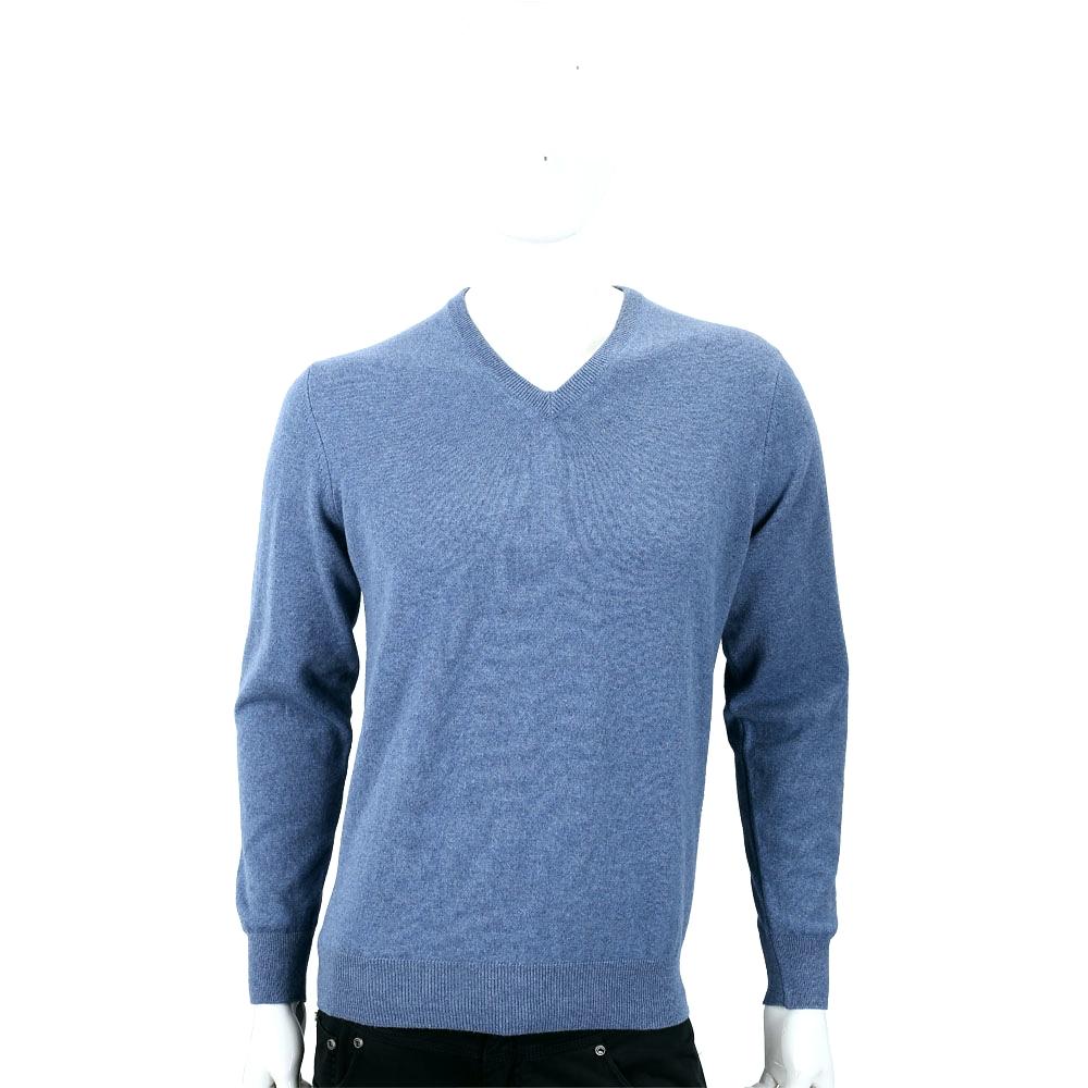 Andre Maurice 喀什米爾霧藍色V領羅紋細節羊毛衫(男款)