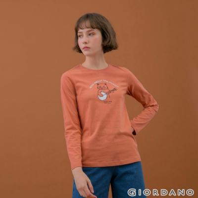 GIORDANO  女裝Joy Life印花T恤 - 21 暗粉紅