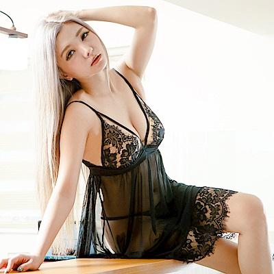 性感睡衣 蕾絲薄紗中長居家性感睡衣 流行E線