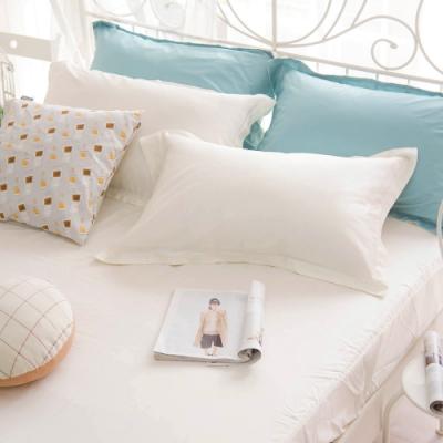 OLIVIA TWINS 全米白 標準雙人床包歐式枕套組 MOC莫代爾棉 台灣製