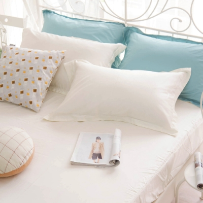 OLIVIA TWINS 全米白 特大雙人床包歐式枕套三件組 MOC莫代爾棉 台灣製
