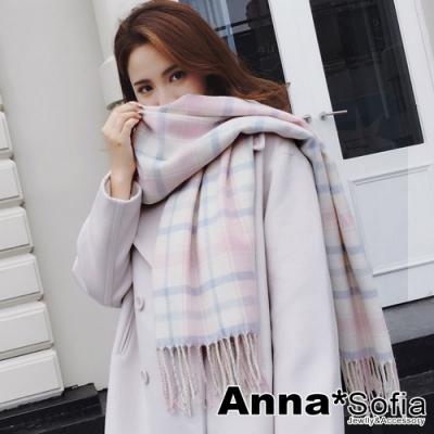AnnaSofia 雅致清新格紋 仿羊絨大披肩圍巾(粉白系)