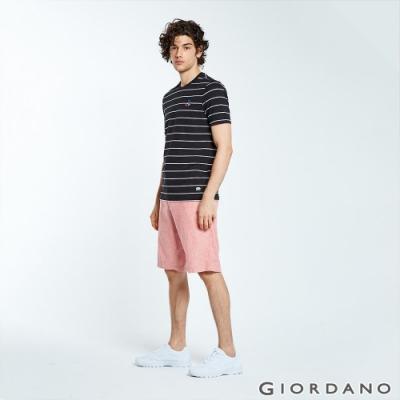 GIORDANO 男裝抽繩腰頭棉麻休閒短褲-26 粉紅