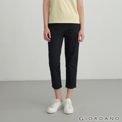 GIORDANO  女裝純棉鬆緊腰休閒褲 - 66 標誌海軍藍