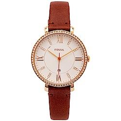 FOSSIL 鑽鑲優雅風皮革女性手錶(ES4413)-銀面X咖啡色/36mm