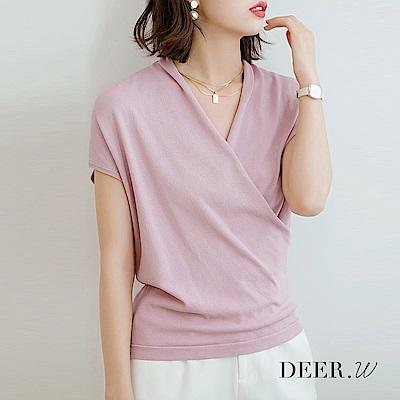DEER.W 交叉領半袖冰絲針織上衣(粉紫)
