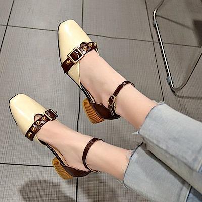 KEITH-WILL時尚鞋館 歡樂單品典雅時尚粗跟鞋-米白色