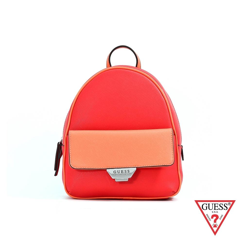 GUESS-女包-簡約素面雙色後背包-紅