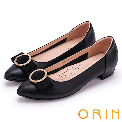 ORIN 氣質甜美風 璀璨圓環水鑽牛皮低跟鞋-黑色