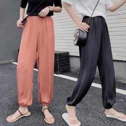 JILLI-KO 高腰寬鬆空氣涼感長褲- 黑/藍/橘