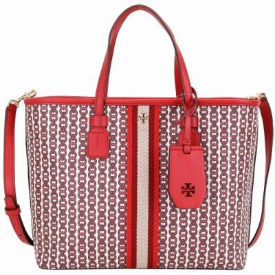 TORY BURCH GEMINI LINK CANVAS 小款塗層帆布兩用包(紅色/新款)