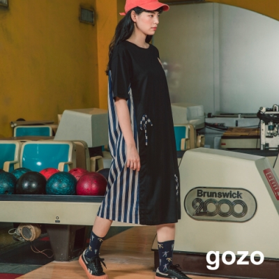 gozo-拼接條紋長洋裝-(兩色)