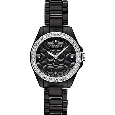 COACH 立體浮雕 閃耀晶鑽陶瓷女錶(14503255)-黑/28mm