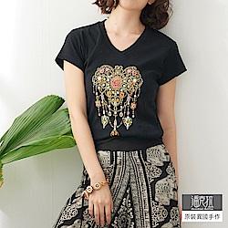 潘克拉 水晶蝴蝶縫珠T-黑色/白色