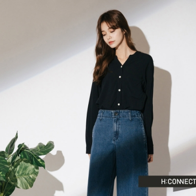 H:CONNECT 韓國品牌 女裝-舒適排扣小口袋上衣-藍