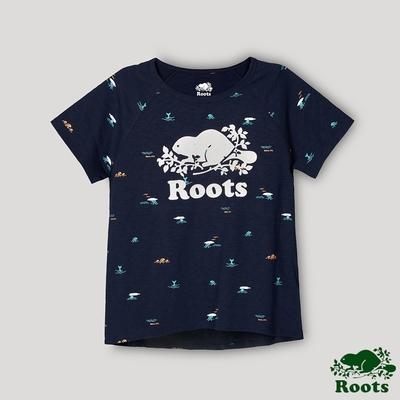 Roots女裝-海洋友善系列 海洋印花寬短版T恤-藍色