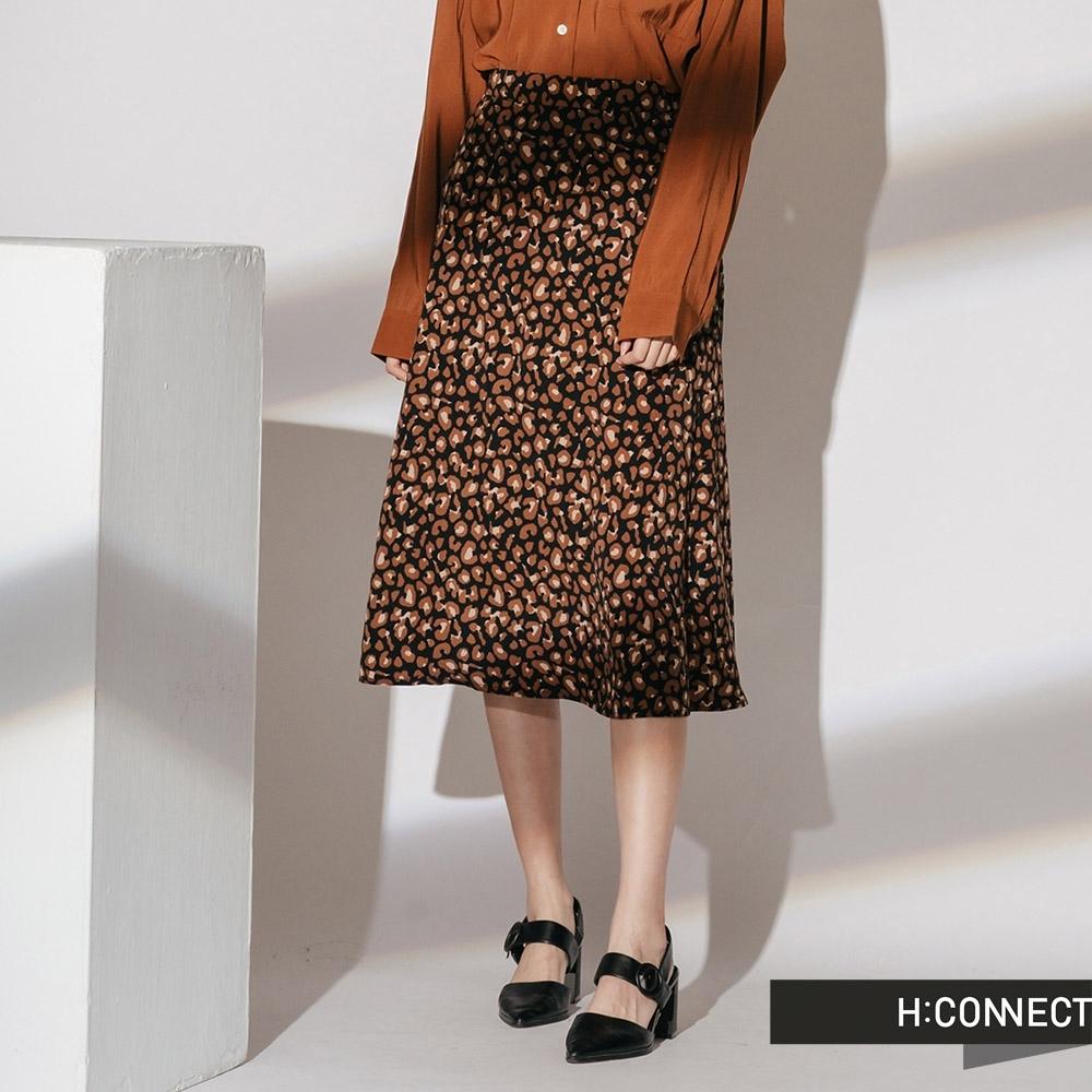 H:CONNECT 韓國品牌 女裝 -都會感豹紋中長裙-咖啡色(快)