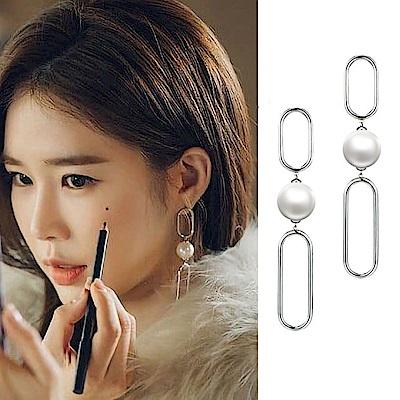 梨花HaNA 韓國925銀觸及真心劉仁娜銀色鏈條耳環