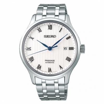 SEIKO精工Presage質感男士設計白色不鏽鋼機械錶41mm(4R35-02S0S/SRPC79J1)