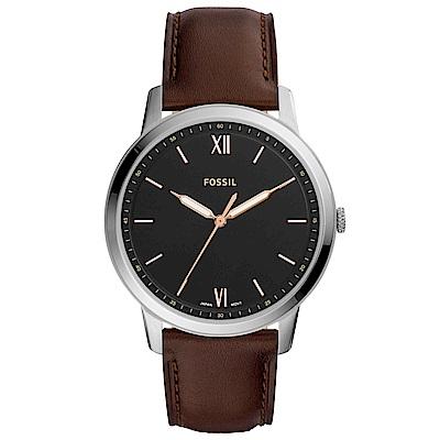 FOSSIL Minimalist紳士風尚真皮手錶(FS5464)-黑X咖啡/44mm