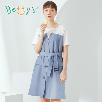 betty's貝蒂思 圓領棉T拼接假兩件洋裝(藍色)