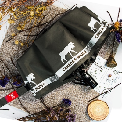 【TDN】馴鹿降溫13度黑膠自動開收傘晴雨傘B6658B