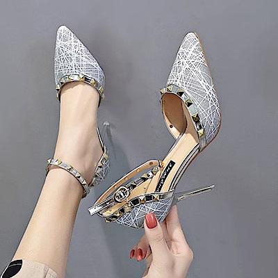 KEITH-WILL時尚鞋館 時尚潮流春意昂然個性高跟鞋-銀色
