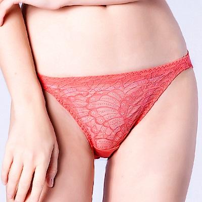 思薇爾 花靈美姬系列M-XL蕾絲低腰三角內褲(茶花橘)