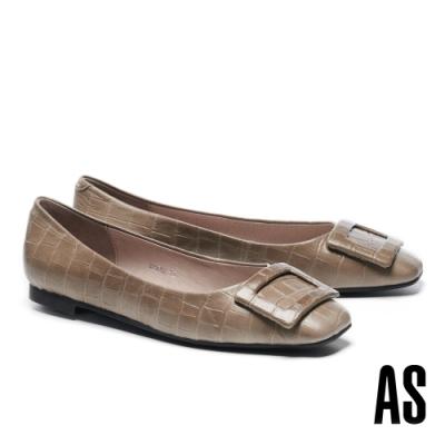 低跟鞋 AS 優雅知性質感方釦全真皮方頭低跟鞋-灰
