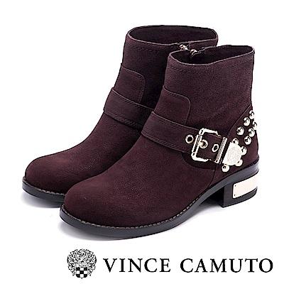 VINCE CAMUTO 搖滾金屬鉚釘中筒靴-咖啡