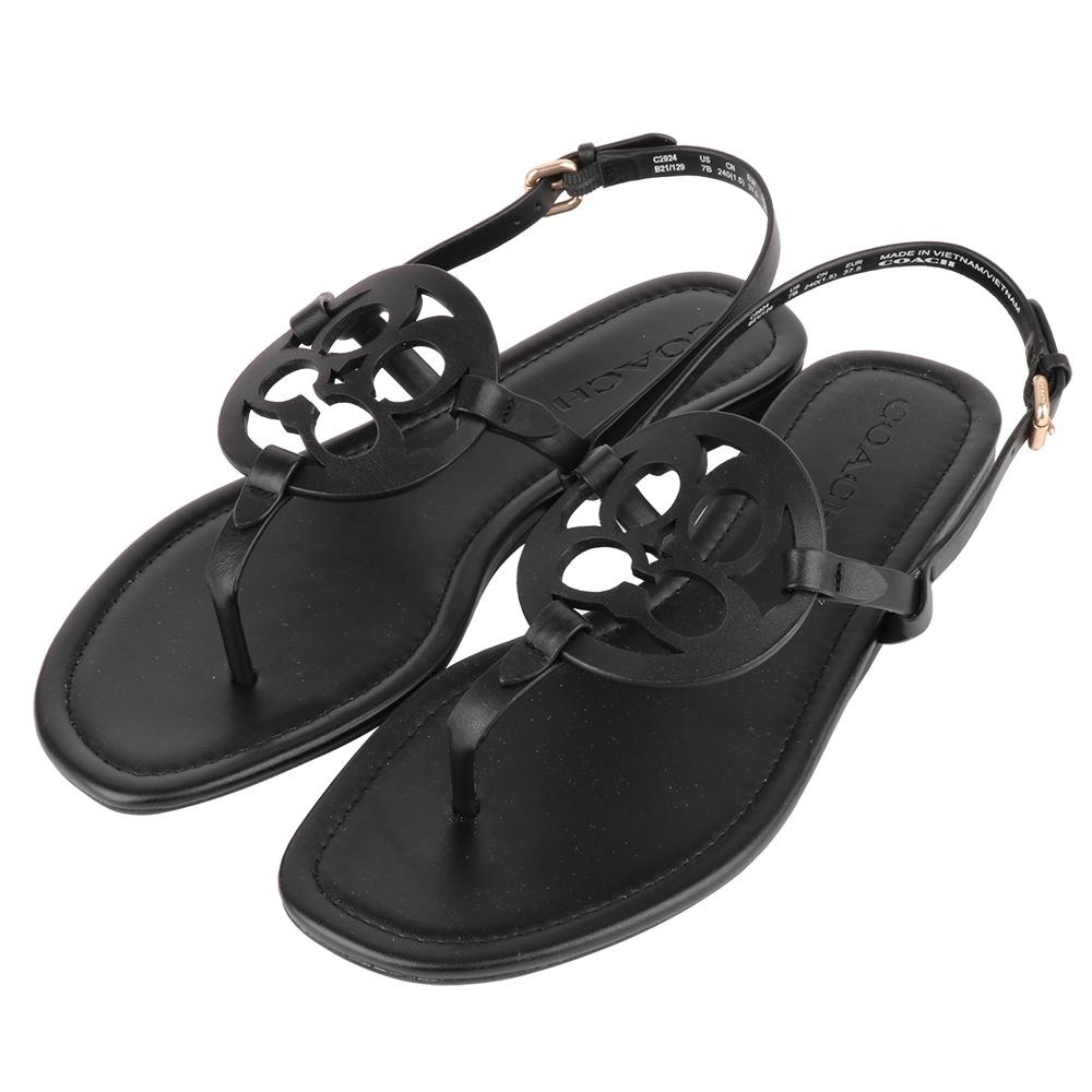 COACH  履空皮雕C LOGO 夾腳女款涼鞋(黑)US.7