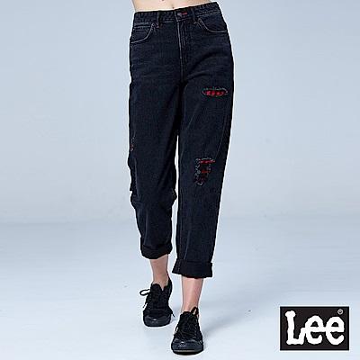 Lee 411高腰標準合身小直筒牛仔褲/RG-黑色